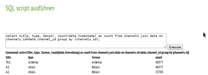 Energiemonitor: SQL Befehl