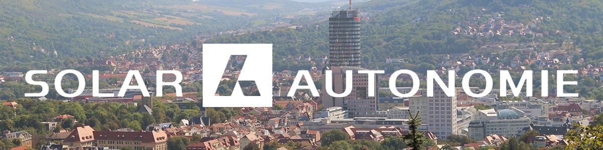 Solarautonomie Logo mit Jenaer Panorama im Hintergrund